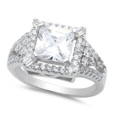 3.50ct Princess Cut CZ Engagement Wedding .925 Sterling Silver Ring Sizes 5-10
