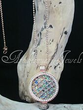 GENUINE MI MILANO NECKLACE/PENDANT/CARRIER SNAKE SKIN/PAUA SHELL COIN/MONEDA