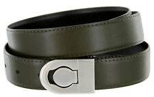 Leather Dress Belt, Olive Green with Nickel Plated Channel Buckle