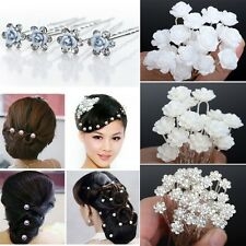 Wholesale 20/40Pc Wedding Bridal Pearl Flower Crystal Hair Pins Clips Bridesmaid