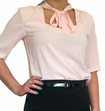 New Womens Ladies Blouse Shirt Top Pussy Bow Stretch Chiffon 8 10 12 14 16 18