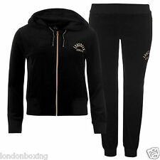 Lonsdale Ladies 2 piece Velour Tracksuit in Black & Rose Gold Sizes 8 - 16
