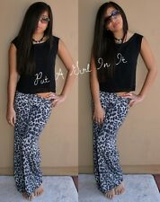 "FOLD OVER "" SNOW LEOPARD "" EXUMA ANIMAL PRINT WIDE LEG PALAZZO PANTS YOGA S M L"