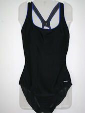 SPEEDO Piped Ultra Back One Piece Bathing Swim Suit  Black w/Blue Trim NEW