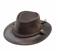 OUTBACK Soft Brown  Leather Hat by Wombat  Leather Bush Aussie Hat