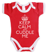 Keep Calm and Cuddle Me Funny Babygrow Vest Boy Or Girl Gift Baby Grow *Sale* ~