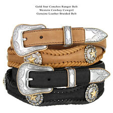 Men's Western Golden Star Concho Genuine Leather Cowboy Belt Black Brown