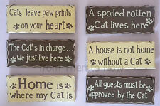 Chic Shabby Brown Cream Wooden Wall Door Hanging Plaque Sign Cats Various Design