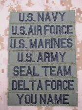 Green Chest Tapes Custom name Tapes ARMY NAVY SEAL DELTAEmbroidery Velcro Patch