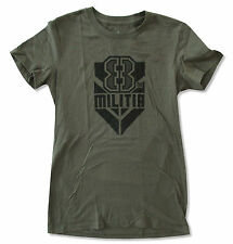 "WWE WRESTLING ""K8LYN MILITIA"" OLIVE GREEN BABY DOLL T-SHIRT NEW OFFICIAL JRS"