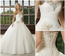 2014 White / ivory Wedding Dresses Bride Dress Gown stock Size 6-8-10-12-14-16
