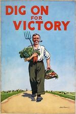 WB27 Vintage WW2 British Dig On For Victory WWII War Poster Re-Print A2/A3/A4
