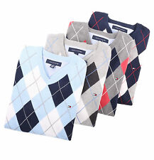 Tommy Hilfiger Men Classic V-Neck Argyle Golf Style Sweater - Free $0 Shipping
