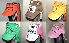 Baby Sun Hat with Animal Character Face and Protective neck Flap 6-23 months