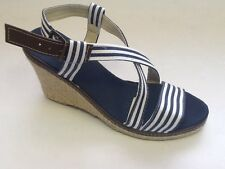 LADIES CANVAS WEDGE SANDALS SIZES 2,3,4,5,6,6.5,7 NAVY BLUE/WHITE STRIPES