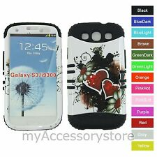 Red Heart Hybrid Rugged Armor Impact Phone Case Cover for Samsung Galaxy S 3 III