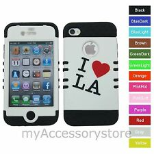 I love LA Hybrid Rugged Armor Impact Protector Phone Case Cover For iPhone 4 4S