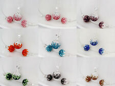 Fashion Colorful 925 Sterling silver Swarovski crystal ball necklace earring set