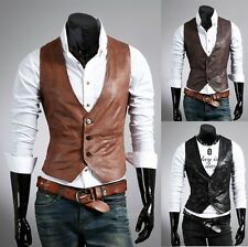 New Vintage Celebrity collection Men's Casual Vest Slim fit PU Leather Waistcoat