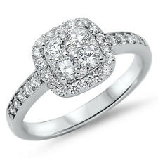 BEAUTIFUL WHITE CZ ENGAGEMENT .925 Sterling Silver Ring SIZES 5-10