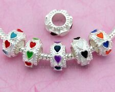 Free Ship 20pcs Heart Beads Fit Charm Bracelet Choose Color E27