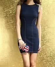 Blue sleeveless 2014 Newl hot girl slim bodycon slim women short mini  dress