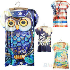 Chic Short Sleeve Owl Graphic Printed T Shirt Tee Blouse Tops for Women BJ8U
