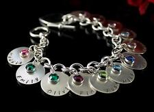 Sterling Silver Hand Stamped Family Mother Grandmothers Charm Bracelet BUILD