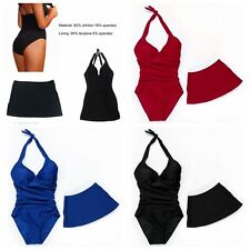 Sexy 2PCS Push-up Padded Bra Halter-neck One-piece Swimwear Swimsuit SwimDress