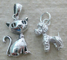 925 STERLING SILVER plain SIAMESE CAT or POODLE DOG pendant charm teen girl boy