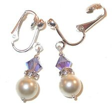 TANZANITE Purple & CREAM Pearl Earrings Sterling Swarovski Crystal Elements