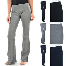 Women's Stretchable Cotton Yoga Pants Fold Over Waist Athletic Fitness S M L