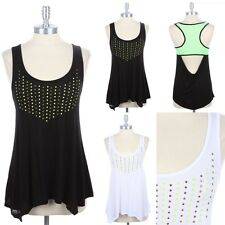 Studded Front Mesh Open Racerback Tank Sleeveless Top Scoop Neck Casual S M L