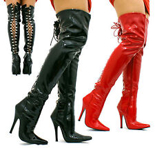 LADIES SEXY OVER THE KNEE HIGH HEEL HOOK LACE UP THIGH HIGH KINKY BOOTS SIZE D85