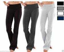Women Soft Comfy Cotton Spandex Yoga Fold Over Pant Lounge Gym Sports Athletic