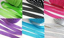 10 yards Elastic Polka Dot Print Fold Over Trim/Lace/Band/Sewing T3-Pick Color