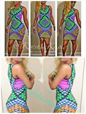 SLEVELESS CUT OUT BACK NEON MIX  SUBLIMATION PRINT BODY CON SEXY DRESS