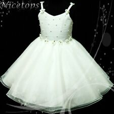 Off White Flower Girls Formal Wedding Dresses Bridesmaid Party Dress Age 2 to 10