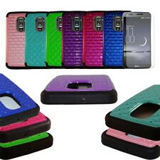 For LG G Flex Hybrid Armor Diamond Case Silicone Soft Cover+Screen Protector