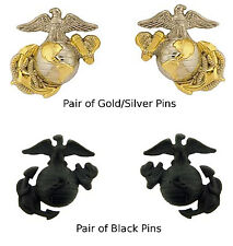 US Marines Corps USMC Eagle Emblem Lapel Pin - Pair of Two Hat / Collar Pins
