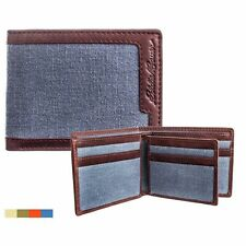 Eddie Bauer Bi-Fold Leather Canvas Wallet with 9 Credit Card Slots