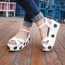 Women Sandals Color Matching Bandage Ankle Strap Summer Casual Princess Shoe 8