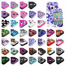 Design Silicone Rubber TUFF HYBRID Hard Case Cover For Apple iPhone 4 4s Color