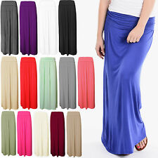 WOMENS LADIES FOLD OVER PLEATED GYPSY LONG JERSEY HIGH WAIST MAXI SKIRT 8-14