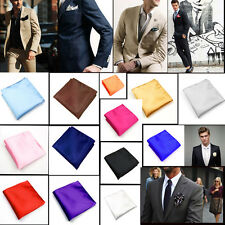 Fashional Mens Silk Satin Pocket Square Hankerchief Hanky Plain Solid Color New