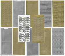 METALLIC GOLD OR SILVER PEEL OFFS TEXT OUTLINE STICKERS CARDMAKING SCRAPBOOKING