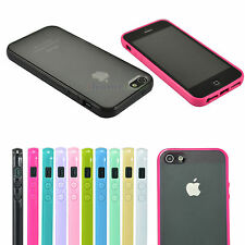 Hard Matte Clear Back Case with Soft Silicone TPU Bumper Cover for Apple iPhone