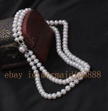 """2 Rows 9-10mm White Akoya Cultured Pearl Necklace 19""""20"""",21""""22"""",23""""24"""",25""""26"""""""