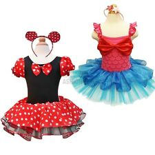 Girls Mermaid Minnie Mouse Headband Ballet Tutu Fancy Dress Up Costume Cosplay