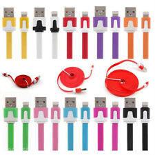 5x 2M/6FT Flat Noodle 8 Pin to USB Sync Cable Charger for iPhone 5 5S 5C